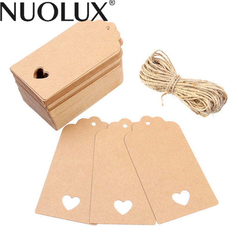 100pcs 10.5*5.5cm Hollow Heart Scalloped Kraft Paper Card Wedding Favour Gift Tag Luggage Tag Price Label With 10M Rope