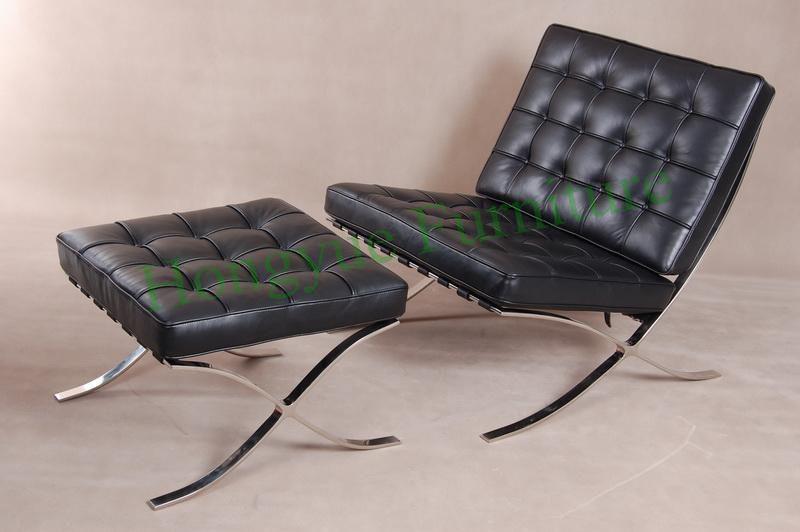 Modern Leather Single Seater Barcelona Sofa With Ottoman Furniture China Mainland