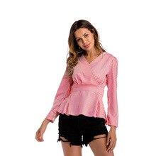 S-2XL v neck plaid shirt tops spring autumn long sleeve slim casual leisure