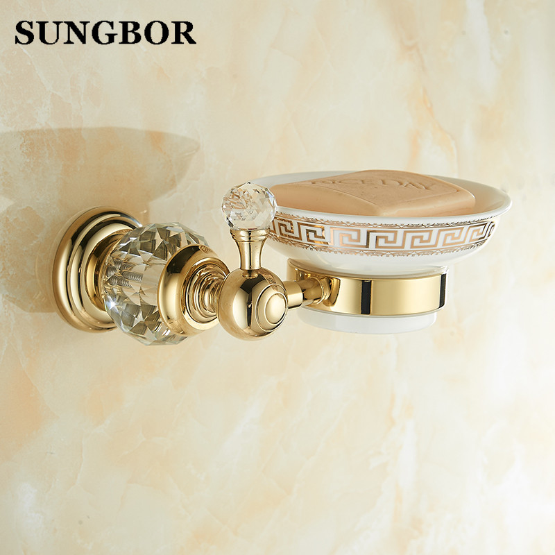 Gold Crystal Soap Dish Holder Luxury Europe Soap Holder Antique Crystal Brass Ceramic Plate Bathroom Accessories Products 99904K european style luxury bathroom ceramic soap dish solid copper crystal soap dish rack bathroom hardware accessories