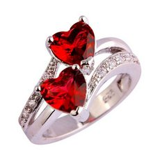 Imitation Zircon Silver Plated Double Love Heart Ring Women Lovers Fashion Jewelry US Size 6-9 Blue Red(China)