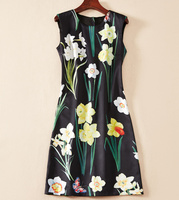 Hot Sale Flower Print Women Dress Fasion O Neck Mini Casual Dresses K1255