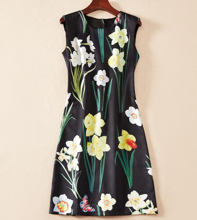 Vente chaude Fleur Imprimer Femmes Robe Fasion O-cou Mini Casual Robes K1255