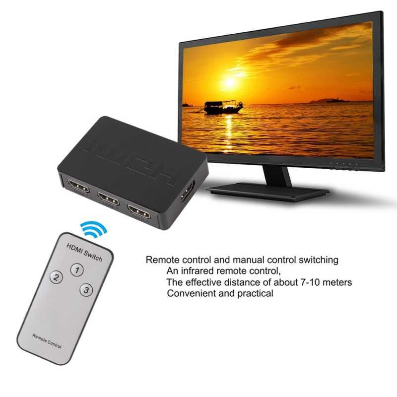 3x1 rozdzielacz HDMI 3 portowy Hub Box Auto przełącznik 3 w 1 na zewnątrz przełącznik 1080 p HD 1.4 z pilot zdalnego sterowania do telewizora HDTV XBOX360 PS3 żarówka jak