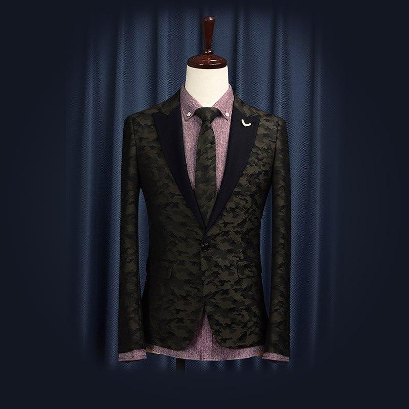 Free Shipping 2014 New Groom Wear Fashion Casual Slim Korean Style Wedding Business Suit Man Blazer Camo Banquet Suits Dress