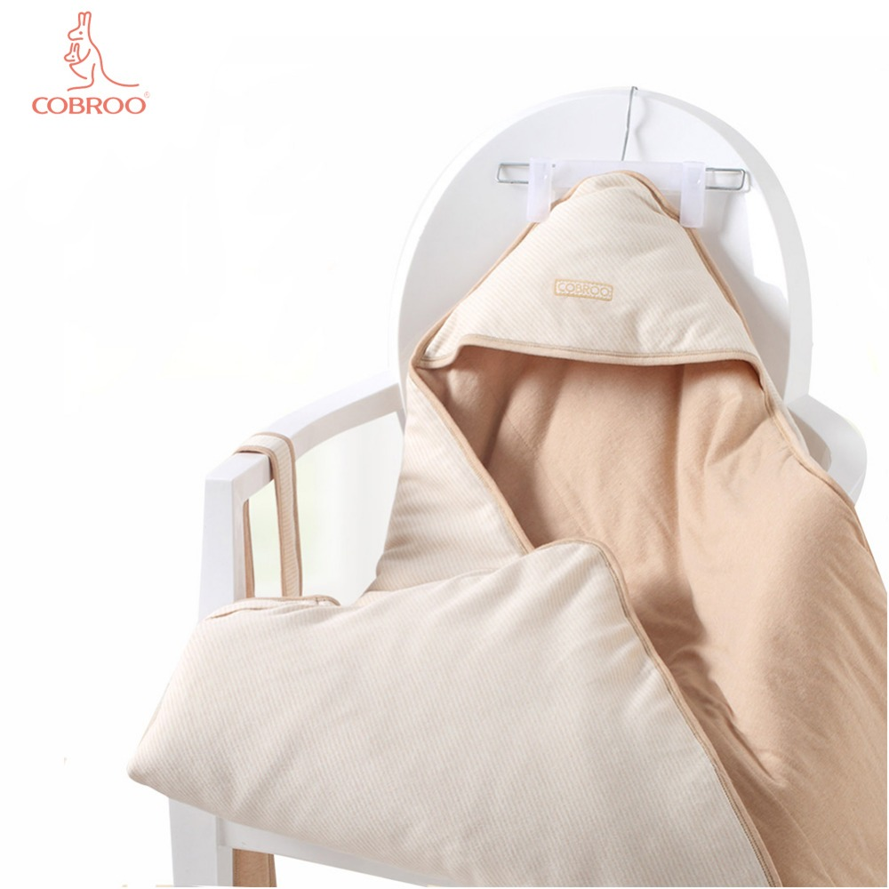 COBROO nouveau-né Swaddle bébé couverture couette 100% coton amovible bébé emmaillotage 88 CM longueur
