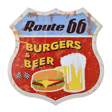 BURGERS BEER Retro Plaque Metal Shield Signs Shop Signboard For Bar Gas Station Garage Route 66 Wall Decor Plates 30.5*30CM D003