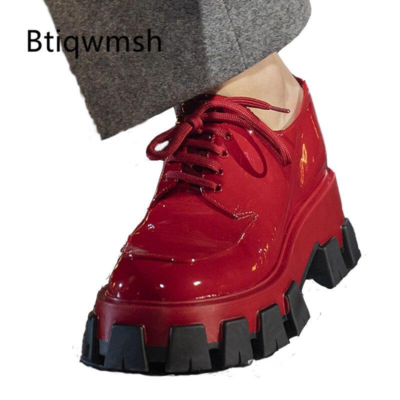 2019 estilo británico Loafer zapatos mujer punta redonda encaje rojo verde grueso inferior negro cuero zapatos mujer moda Casual zapatos-in Zapatos planos de mujer from zapatos    1