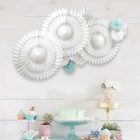 10pcs set Snowflake Tissue Paper Fans Cut out Paper Decoration Pinwheels for Wedding Birthday Showers Romantic Decor in Party DIY Decorations from Home Garden