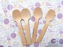 10cm small disposable wood spoon Wooden Cutlery cake spoons ice-cream Natural party lovely Wood Dessert