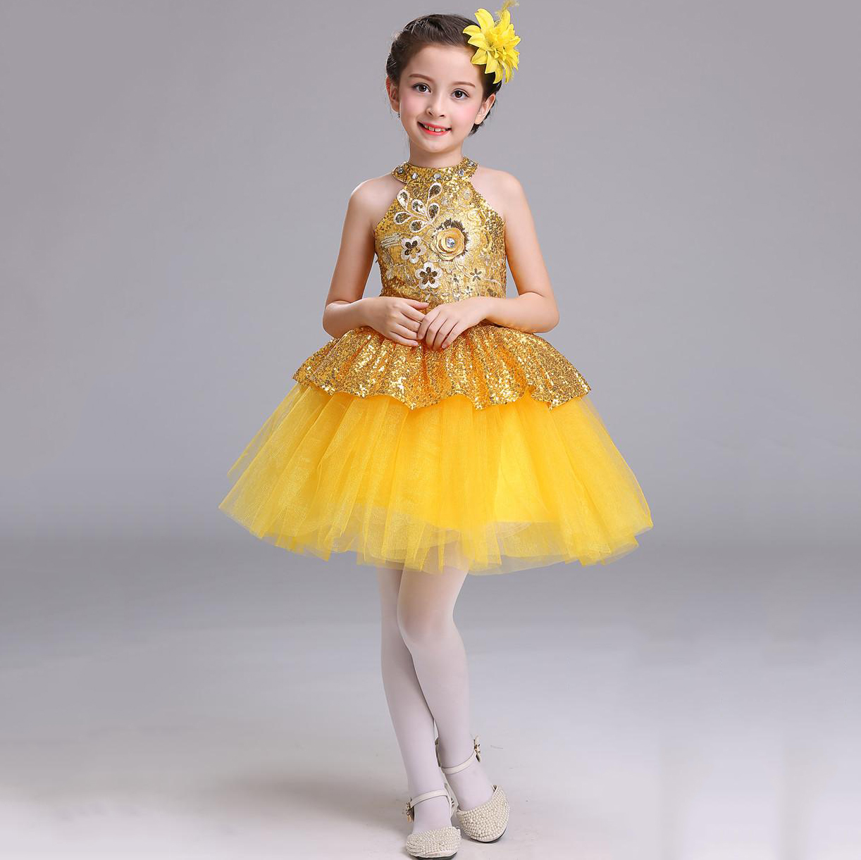 все цены на Children Summer Clothing Girls Bling Bling Sequins Top Graduation Party Jazz Dance Dress Girls Kids 2 3 4 5 6 7 To 14 Years Old