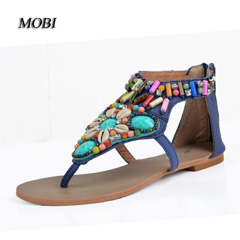 091865c0e298df small big size 34-40 women comfortable beading and diamond flipflop T strap  bohemia flat sandal lady all match beach shoes