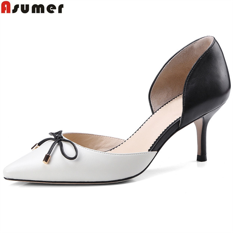 ASUMER fashion pointed toe mixed colors shallow pumps shoes woman thin heel wedding shoes women high heels genuine leather shoes bowknot pointed toe women pumps flock leather woman thin high heels wedding shoes 2017 new fashion shoes plus size 41 42