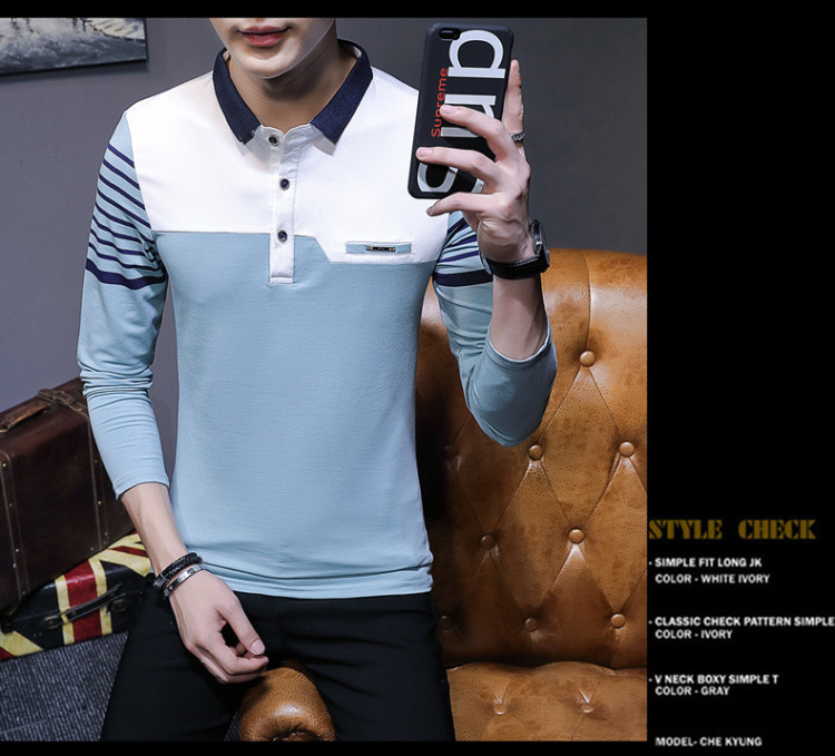 Business Casual Long Sleeve Men Polo Shirt Striped Autumn Winter Polos Cotton Slim Fit Camisa Polo Masculina 79
