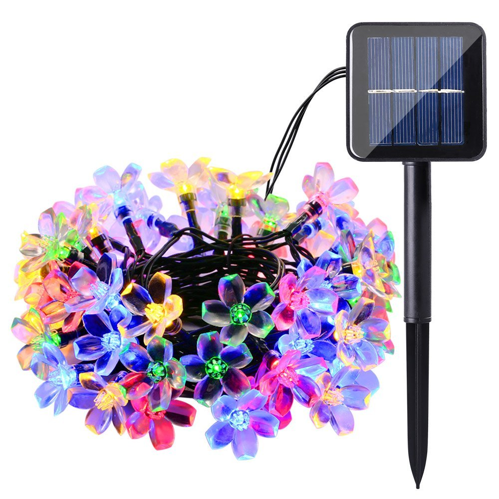 Solar Garden Light Outdoor 7M 50 LED Solar Lamps  Waterproof Cherry Blossom Flower Solar String Fairy LightsPatioGardenXmas