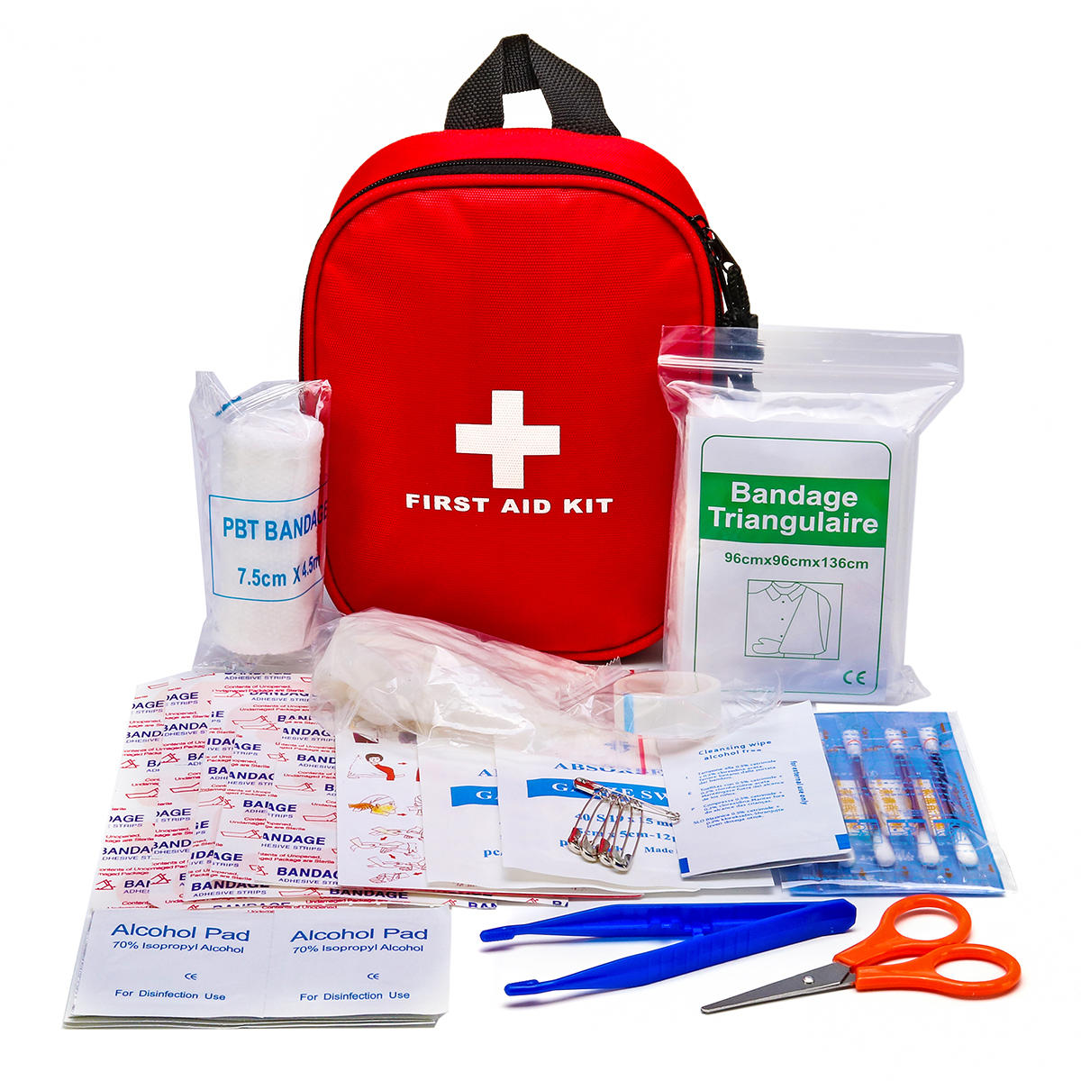46Pcs Mini SOS Emergency Survival Kit First Aid Bag Medical Kits Treatment Pack Outdoor Wilderness Survival Red