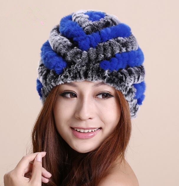 New Style Korean Striped Pineapple Hat Winter Warm Real Rex Rabbit Fur Knitting Winter Hats For Ladies MS-32