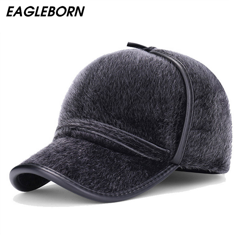 2018 New fashion Faux Fur baseball caps with earflaps men winter hats for men hat snapback casquette bone suitable for 53-56cm fashion printed skullies high quality autumn and winter printed beanie hats for men brand designer hats