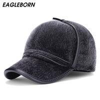 2018 New fashion Faux Fur   baseball     caps   with earflaps men winter hats for men hat snapback casquette bone suitable for 53-56cm