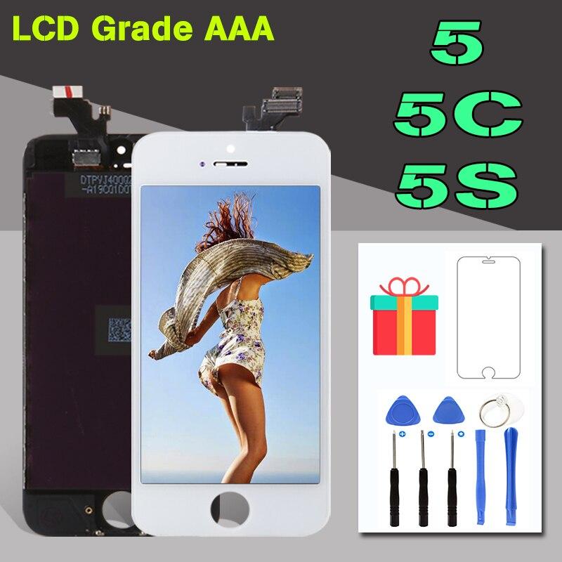 AAA + Qualità di Visualizzazione del Modulo Per il iphone 5 5 s 5C Schermo LCD e Touch Digitizer Assembly di Ricambio Per iPhone5S LCD Nero Bianco
