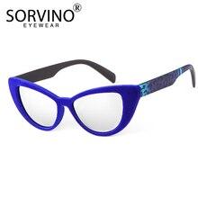 SORVINO Vintage Blue Mirror Cat Eye Sunglasses Women Brand D