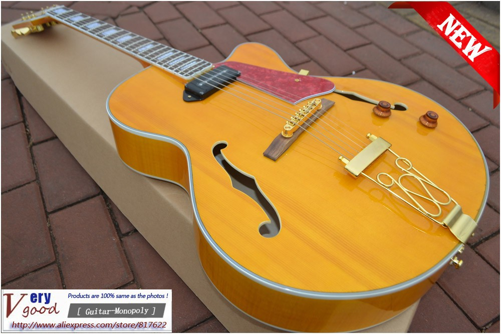 New! L5 jazz guitar, yellow maple top, Jazz hollow body electric guitar, a pickup, free shipping