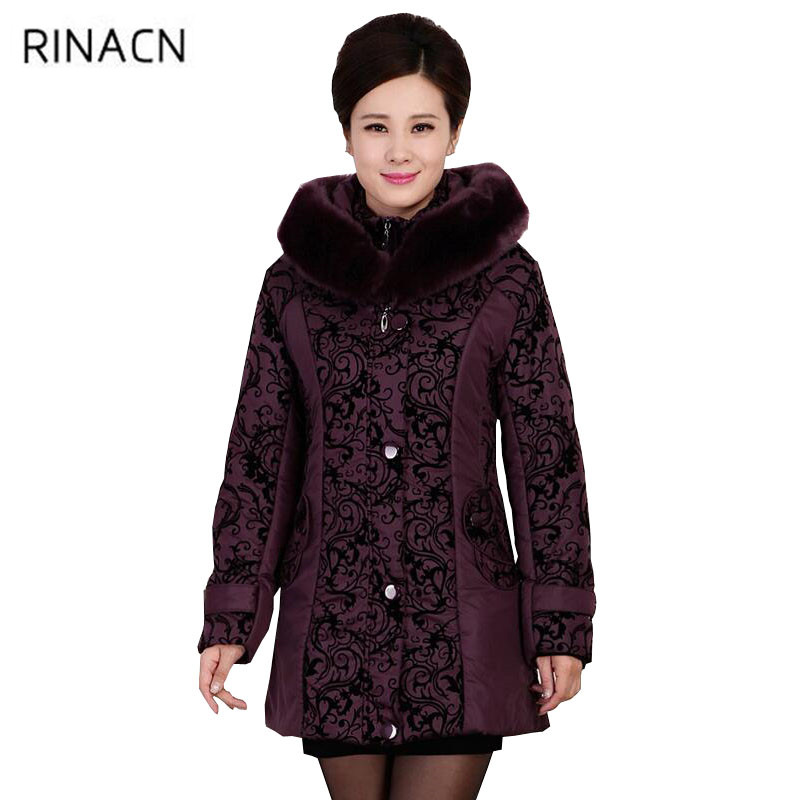 autumn Winter Jacket Women Thicken Warm Cotton-padded Slim Plus Size Fur Collar Coat Parka Middle-aged Jacket For female w445 women thicken warm winter coat hood parka plus size 5xl on sale red cotton padded jacket female ukraine fashion outwear autumn