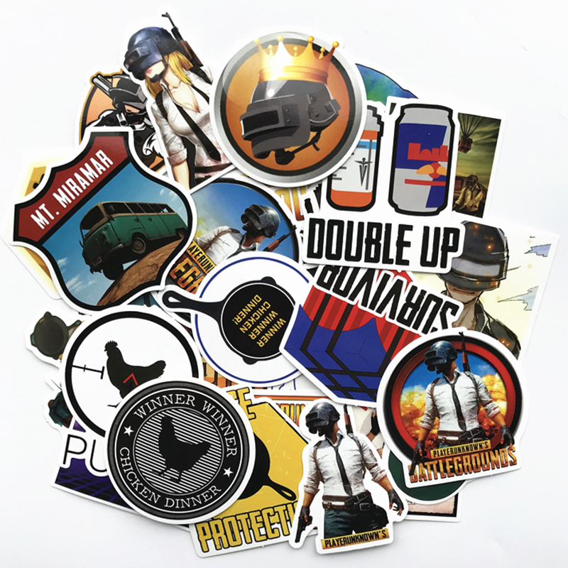 AQK 29Pcs Game PlayerUnknown's PUBG Stickers Vinyl Battlegrounds Decals For Skateboard Luggage Laptop Notebook Guitar Car Pad