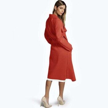 Kenancy 2018 Winter Coat Women Wide Lapel Belt Pocket Wool Blend Coat Oversize Long Red Trench Coat Outwear Wool Coat Women 1