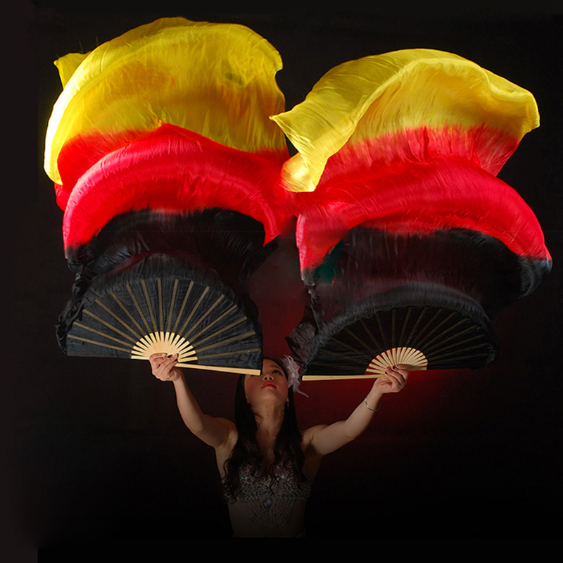 Belly Dance Fans High Quality 20 Colors 100% Silk Veils Dance Fans Bamboo Ribs Long Stage Performance Property Props 180cm
