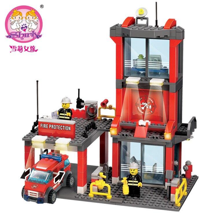 300pcs blocks DIY Firefighters Edcuational Brick Fire Rescue Center Children learning & education building blocks free shippingModel Building