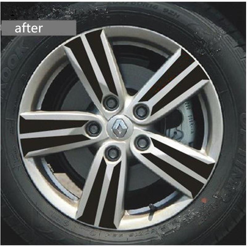 Car Wheel Rim sticker Protecting Black 3D Carbon Fiber Wheel Hub Sticker For Renault Fluence 2011 Car Styling Accessories