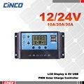 10A20A30A 12 V/24 V controlador de carga solar, display LCD, dupla saída USB 5 V, painel da célula solar carregador de energia solar fonte de alimentação da bateria