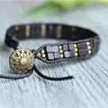2017 New Leather Strand Bracelet Simple Black Square Turquoise,Copper Strand Bracelet Handmade wholesale Pulseira de couro