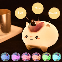 Led Silicone Night Light Animal Unicorn Table Lamp Tap Control Night Light For Kids/Children'S Room Night Lights Usb Rechargeble