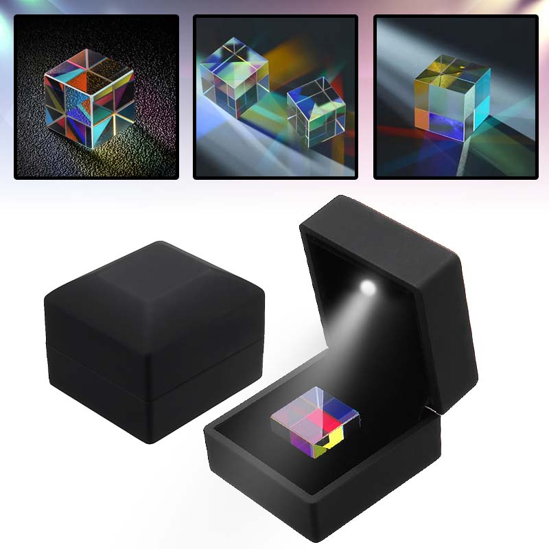 23mm Optical Glass Crystal Combiner Prism Cube RGB Dispersion Splitter Experiment Instrument with Blue Shinning Box