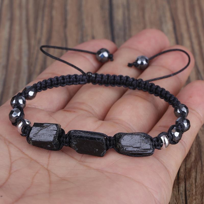 Natural Rough Black Tourmaline Healing Stone Bead Faceted Hematite Nylon Rope Adjustable Macrame Energy Bracelet Man Women