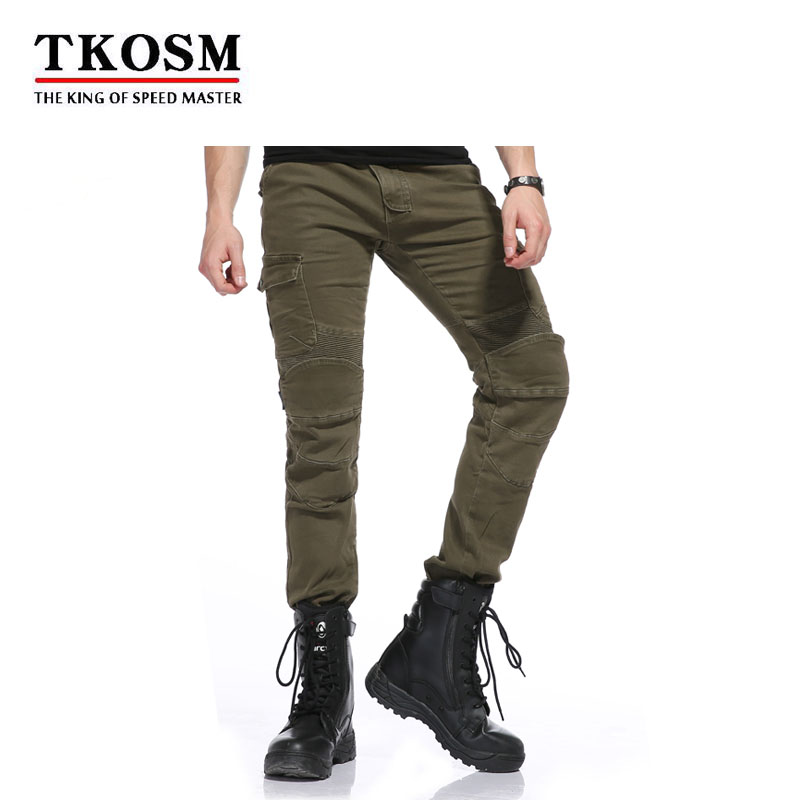 TKOSM 2018 MOTORPOOL USB02 Army Green Slacks jeans Motorcycle Ride Jeans Leisure Loose Version With Protective Equipment