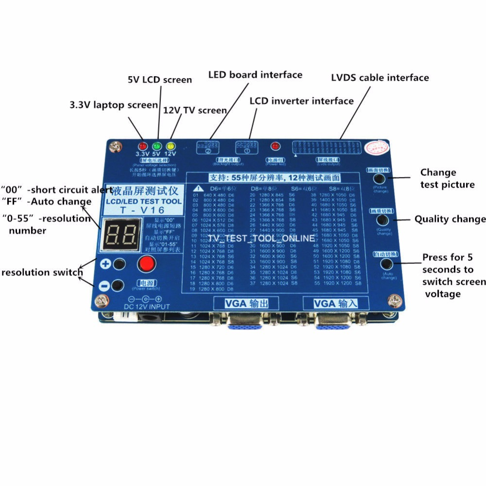 2018 Nouvel Ordinateur Portable TV/LCD/LED Outil de Test LCD Testeur de Panneau de Soutien 7-84 w/ LVDS Interface Câbles et Onduleur