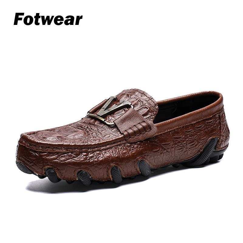 Men Genuine Leather Loafer Men Full Grain Leather Casual Shoes With V Metal Logo Crocodle-skin-like Upper Octopus-like Outsole