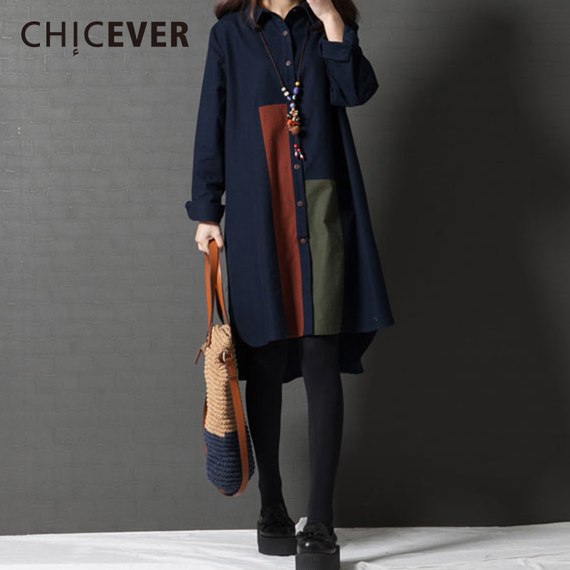 CHICEVER Spring Plus Size Women Dress Shirt Hit Colors Long Sleeve loose Casual Womens Dresses 2018 Fashion Clothing Korean
