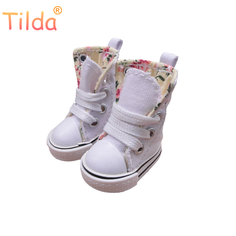 Tilda 5cm Canvas Doll Boots for Handmade Fashion Doll Toy,1/6 Mini Toy Puppet Denim Shoes for BJD Sneakers Accessories for Dolls tilda 5pairs lot 5cm canvas sneak for bjd doll mini textile doll boots 1 6 polka dots designer sneakers shoes for handmade dolls