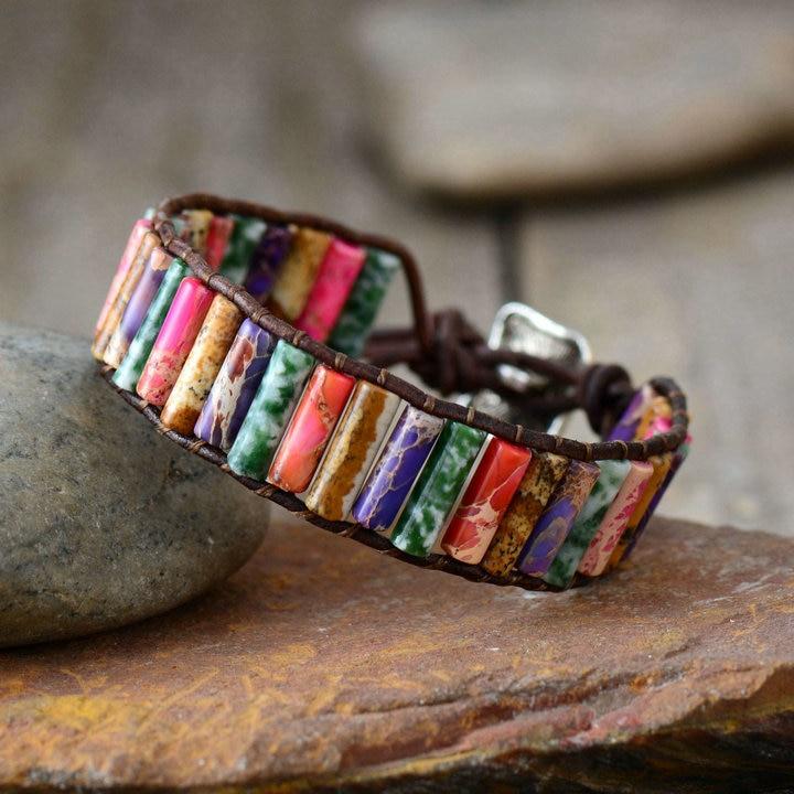 Boho Bracelet Tube Shape Natural Stone Single Leather Wrap Bracelet Semi Precious Stone Women Beaded Cuff Bracelet Dropship(China)