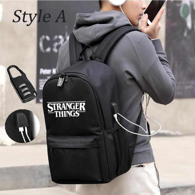 Strang Things Student Backpack With USB Charging And  Anti Theft Features Backpack For Boys Girl Back To School Canvas Backpack