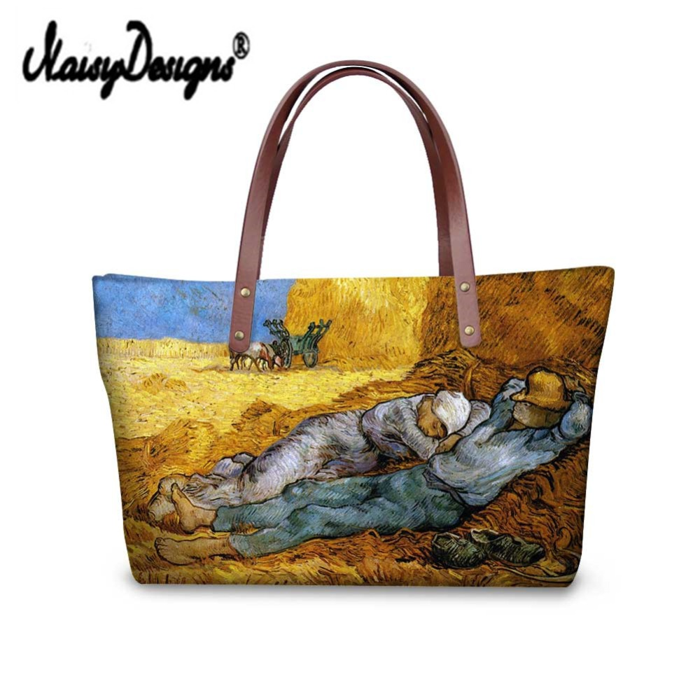 Shopping Bag Van Famous Painting 3D Custom Bags Women Drop Shipping Canvas Large Handbags Travel Tote Bolsa Feminina Sac a Main