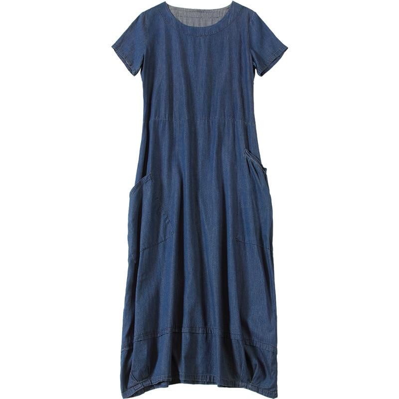 Casual La Femmes À Manches 2018 Courtes Taille D'été Blue De Robe Longue Plus Nw18b2629 Denim xqqZFYPrB