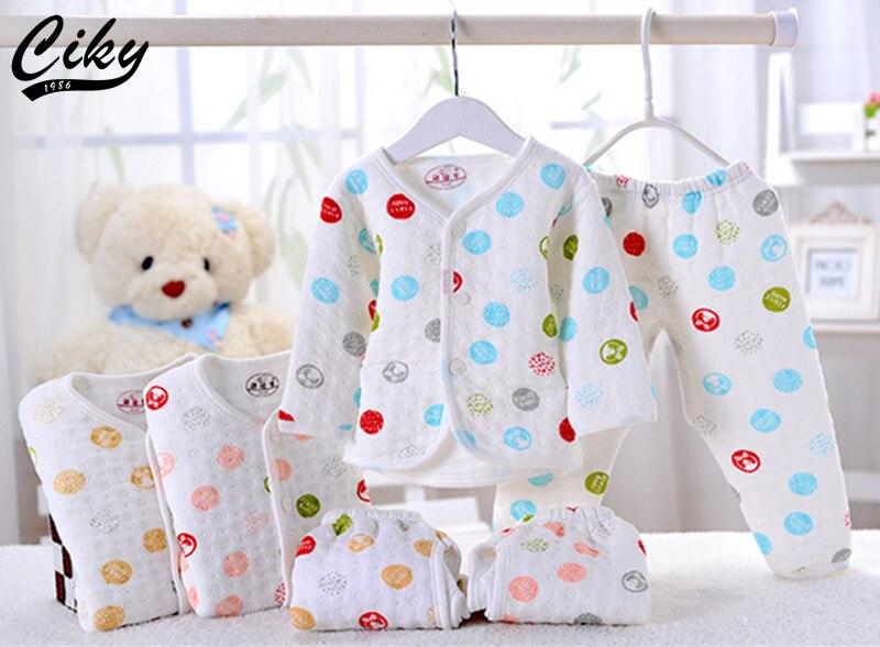 (2pcs/set)Newborn Baby 0-6M Brand Boy Girl warm Clothes set 100%Cotton Cartoon dot winter Underwear baby set B-002