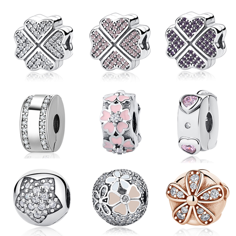 лучшая цена 925 Sterling Silver Charms Clear Crystal Petals Of Love CZ Clover Safety Stopper Clips DIY Beads Fit Original Pandora Bracelets