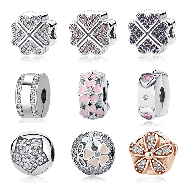925 Sterling Silver Charms Clear Crystal Petals Of Love CZ Clover Safety Stopper Clips DIY Beads Fit Original Pandora Bracelets