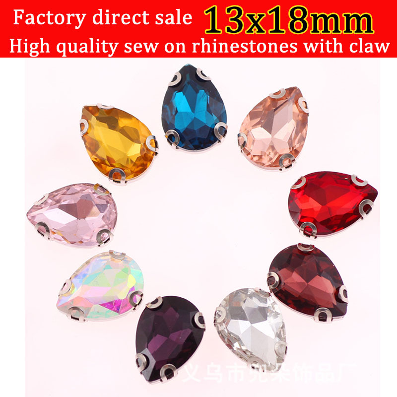 20pcs 13x18mm scratch-resistant Glass Drop shape Sew On Rhinestones with D shape chaw diy accessories accessories